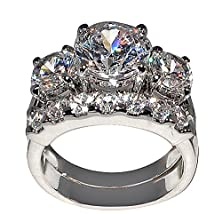 buy 5 Ct. Bold Past Present & Future Cubic Zirconia Cz Bridal Engagement Wedding Ring Set (Round-Shaped Center Stone Is 2.75 Cts) (7)