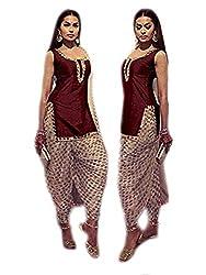 khazanakart maroon cotton designer dress materials for women /bollywood dress materials /partywear dresses