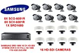SAMSUNG SRD-1680 16 CH HD-SDI HYBRID DVR 1TB HDD WITH16 HD-SDI CAMERAS 8X SC0-6081R AND 8X SCV-6081R