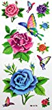 GRASHINE Colorful rose and butterfly fake and realistic temporary tattoos