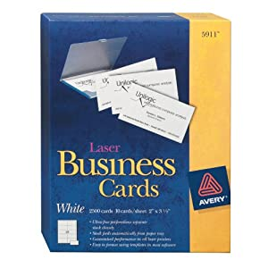 Amazon Avery Laser Business Cards 2 x 3 5 Inches