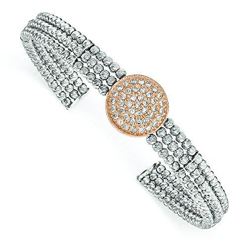 In argento Sterling rodiato e rosa 3-strand Bead Charmed Swarovski Crystal divieto