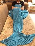 100% Knitting Pattern Mermaid cola Blanket de Fan Sheng, niños novedad Luxus completa Saco de dormir Aire Acondicionado Manta lana Slumber funda niedliche sirena-Regalo para Niños