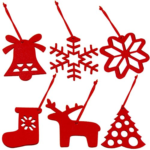 Christmas Tree Decoration Ornaments In Red Felt For Holidays And Thanksgiving - Set of 6 (10x10cm) Snowflakes Reindeer Sack Tree And Bell For The Best Festive Home Decor By Holiday Styling