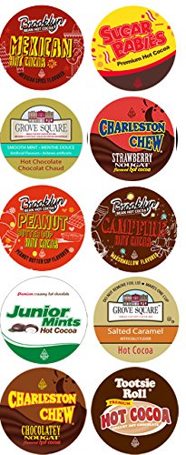 10 Cup Crazy CANDY Hot Cocoa Sampler! NEW! Candy Inspired Hot Chocolate Single Serve Cups! Tootsie Roll Cocoa, Junior Mint Cocoa, Peanut Butter Cup cocoa ++ (K Hot Chocolate Cups compare prices)