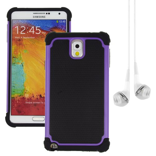 Hybrid Dual Layer Armor Defender Protective Case Cover For Samsung Galaxy Note 3 (At&T Verizon Sprint T-Mobile) + Vangoddy White Headphone (Purple)