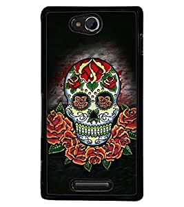 Printvisa Colourfull Floral Skeleton Back Case Cover for Sony Xperia C::Sony Xperia C HSPA+ C2305