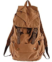 MONA Exclusive Vintage Backpack Sturdy Premium Rucksack Durable Casual Canvas Leather Outdoor College Camping Hiking Travelling Fashionable khaki