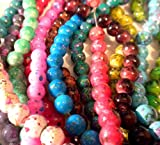 50pcs Mix Artistic Marble Design Lampwork Glass Round Beads 8mm ~ Loose Beads~