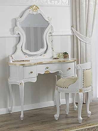 Toeletta ballerina con poltrona stile Barocco Decapé avorio particolari foglia oro ecopelle champagne bottoni Swarovski