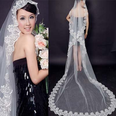 Lacework Graceful Flower Mantilla Wedding