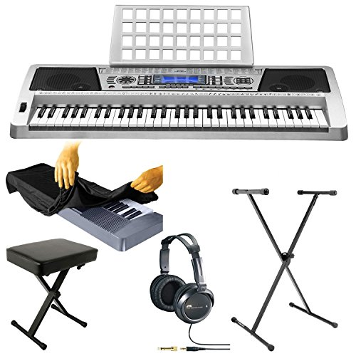 Knox 61 Key Music Keyboard With Touch Sensitive Keys With Keyboard Bench, Full-Size Headphones, Dust Cover, And Stand
