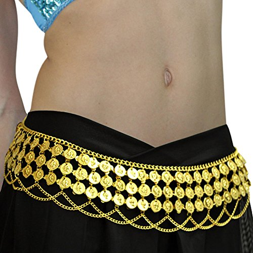 Gypsy Hippie Belly Dance Metal Dangling Coins Chains Belt Adjustable Gold