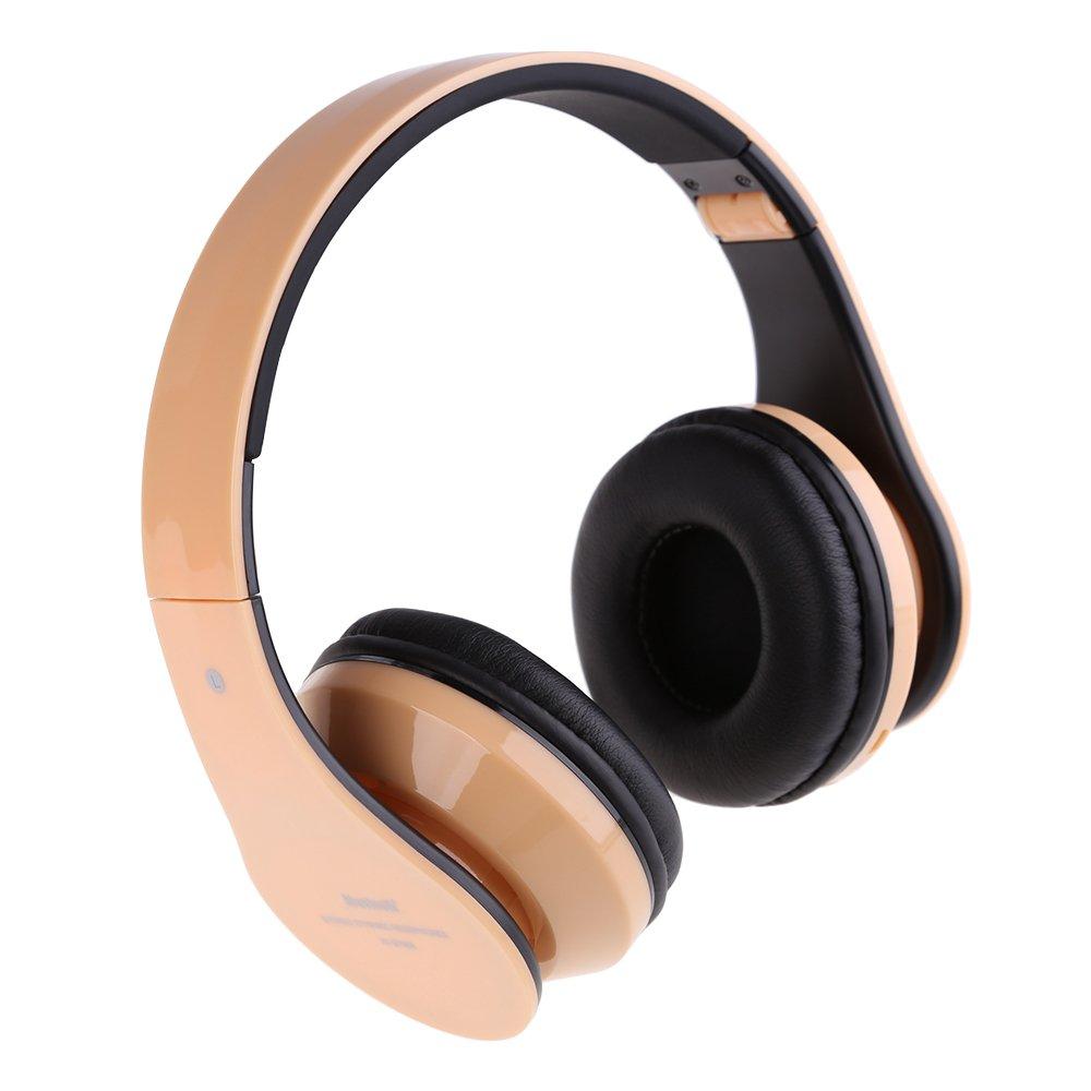 VKtech® -Auricular Plegable Bluetooth Estéreo Inalámbrico/Wired 3.5mm cable para Conectar con Movíl PC Apoyo TF / Micro SD Tarjeta de Memoria (Dorado)  Bricolaje y herramientas Comentarios de clientes y más información
