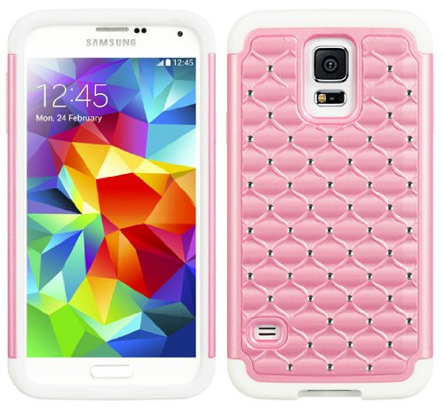 Mylife (Tm) White And Light Pink - Diamond Shell Series (2 Layer Neo Hybrid) Slim Armor Case For The New Galaxy S5 (5G) Smartphone By Samsung (External Rubberized Hard Shell Flex Piece + Internal Soft Silicone Flexible Bumper Gel)