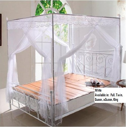 White Lace Luxury 4 Post Bed Canopy Mosquito Net Set Frame Queen & 1 Best Buy White Lace Luxury 4 Post Bed Canopy Mosquito Net Set ...