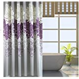 Eforgift 72-inch By 78-inch Floral Printed Shower Curtain Fabric, Waterproof Bathroom Curtains No More Mildews with Free Rings, Purple/Grey