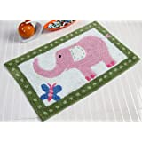 100% Cotton Tufted Pink Elephant Children Rug/Bath Mat 50 X 80 cm