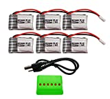 BTG 3.7V 250mAh Battery 6PCS & X6 Battery Charger for Syma X11 X11C Hubsan X4 H107C H107D H107L H108 Ladybird