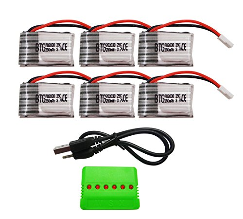 BTG 3.7V 250mAh Battery 6PCS & X6 Battery Charger for Syma Hubsan