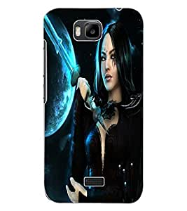 ColourCraft Warrior Girl Design Back Case Cover for HUAWEI HONOR BEE