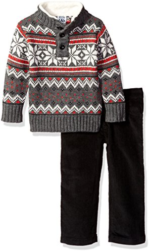 Boys Rock 2 Piece Holiday Sweater Set, Grey, 12M