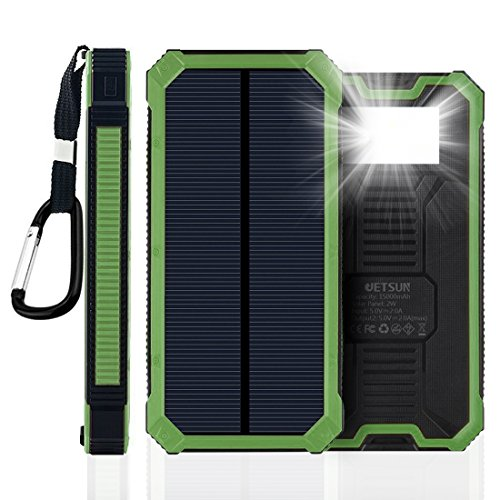 JETSUN Solar Charger, Portable 15000mAh Power Bank External Battery with Fast Charge, 2-Port Dual USB Backup Battery Pack (Green) (8000 Mah Battery Pack Charger compare prices)