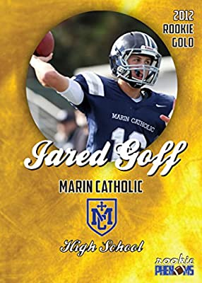 JARED GOFF ROOKIE 2012 MARION CATHOLIC HIGH SCHOOL RARE GOLD LOS ANGELES RAMS in a one touch magnetic case