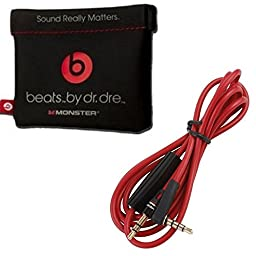 Musicx Replacement Leather Pouch for Dr. Dre Monster Beats Stereo Headset Headphones With 3.5mm Right Angle 800 AUX Cable and 1.2m Headphone Cable Dr. Dre Headphones
