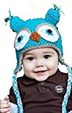 LadyMYP Handmade Knitted cap Baby cap Childrens Hat Hats 100 Wool Hat Eagle owl Light blue