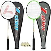 Guru Zemin BR07 COMBO-01 Badminton Racket Set Pack Of Two With Two Cover & 3 Shuttlecock Size: 27 Inch