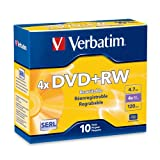 Verbatim 94839 4.7 GB 1x- 4x ReWritable Disc DVD+RW, 10-Disc Slim Jewel Case