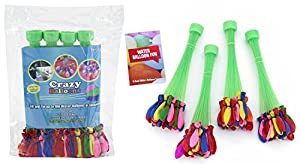 Crazy Balloons - Fills and Ties 100 Water Balloons in a Minute - Hose Attachment Filler - Includes 148 Self Sealing Balloons - Make a Bunch of Battle Ready Water Bombs Fast - Easy for Kids to Use - Bonus Water Fight Games Booklet