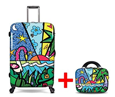 Heys USA - 2pcs. - SET 50 GBP Discount - Britto Palm, High-quality designer artist luggage set - 76 cm 4-wheels Trolley and Beauty Case by Heys USA