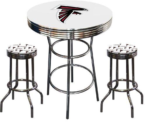 how to 3 piece atlanta falcons logo chrome finish white pub table w