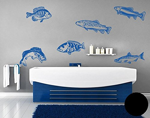 wandtattoo fisch set b x h 60cm x 60cm farbe schwarz erh ltlich in 35 farben und 5 gr en. Black Bedroom Furniture Sets. Home Design Ideas