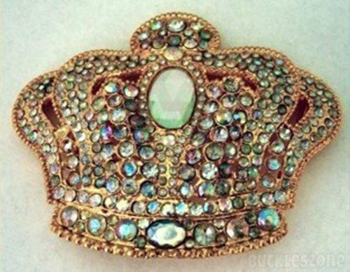 Emperor Royal Jumbo Huge Heavy Crown Rhinestone Gold Finishing for Kings Queens Prince and Princess Men Women Belt Buckle.