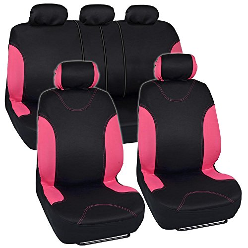 Black and Pink Cloth Car Seat Covers - Split Option Bench - Full Set (Pink Toyota Corolla Seat Covers compare prices)
