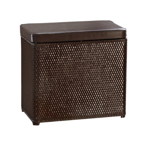Wicker laundry hamper with coordinating padded vinyl clothes laundry hamper new ebay - Rattan clothes hamper ...