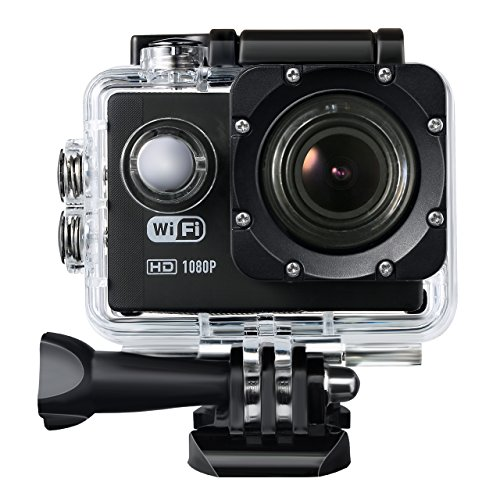 Topop Action Camera with WiFi for Android and IOS, 12MP and Full HD 1080p Sports Camera with 2.0-inch LCD Display, Multilingual Menu, 170 Degrees Wide Angle FOV, Water-proof Camcorder + Multiple Accessories, for Outdoor Sports