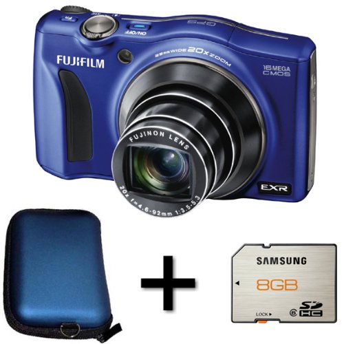 Fujifilm FinePix F770EXR - Blue + Case and 8GB Memory Card (16MP EXR CMOS Sensor, 20x Optical Zoom) 3 inch LCD Screen