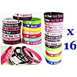16 Pcs I Love ONE Direction Bracelet Silicone Wristband so in Love Heart 1d