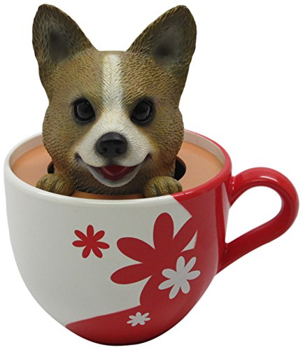 Idea Max Peek-A-Pet Bobble Heads Flowers Corgi (Tea Cup)