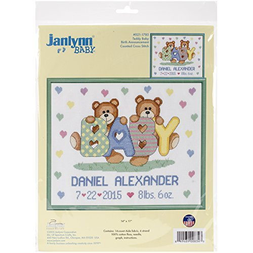 Janlynn Tedd Baby Birth Announcement Cross Stitch
