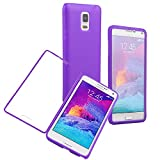 Queens® Flip Case Cover for Samsung galaxy Note4 IV ,scratch Resistant Flip Case Cover for Samsung galaxy Note4 IV Screen Full Scratch Protection and Hybrid Crystal Clear Front Anti-scratch Clearly Stylus Slim Fit Screen Protector, Smooth TPU Back Shel Shock-absorption Bumper Premium Cover Case for Samsung galaxy Note4 IV+ Screen protect (1-Purple)