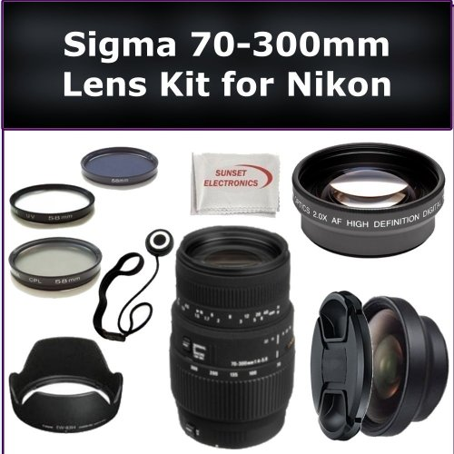 Sigma 70-300mm f/4-5.6 DG Macro Autofocus Lens Kit for Nikon D40, D40X, D50, D60, D70, D70s, D80 Digital SLR Cameras. Also Includes: 0.45X Wide Angle Lens, 2X Telephoto Lens, Lens Cap, Lens Hood, Lens Cap Keeper, 3 Piece Filter Kit (UV-FLD-CPL) and Microfiber Cleaning Cloth