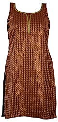 Rampwaq Women's Cotton Kurta (RWKRT025, Brown, Large)
