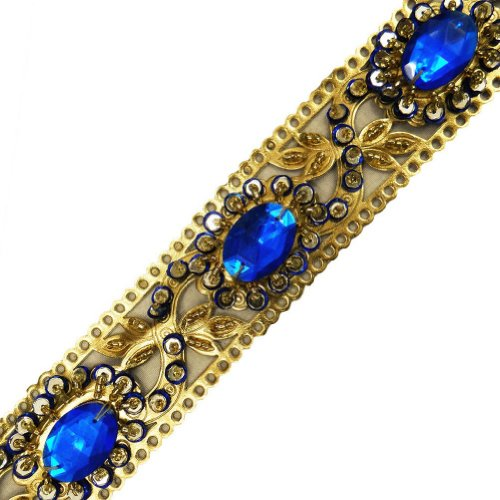 Blue Artificial Leather Trim Sequin Beaded Faux Stone Ribbon Border Lace 1 Yd