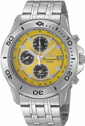 Seiko Men's Yellow Dial Chronograph Alarm Watch Model SNA789P1