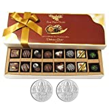 Chocholik Belgium Chocolates - 16pc Perfect Combo Of Taste And Charm With 5gm X 2 Pure Silver Coins - Diwali Gifts